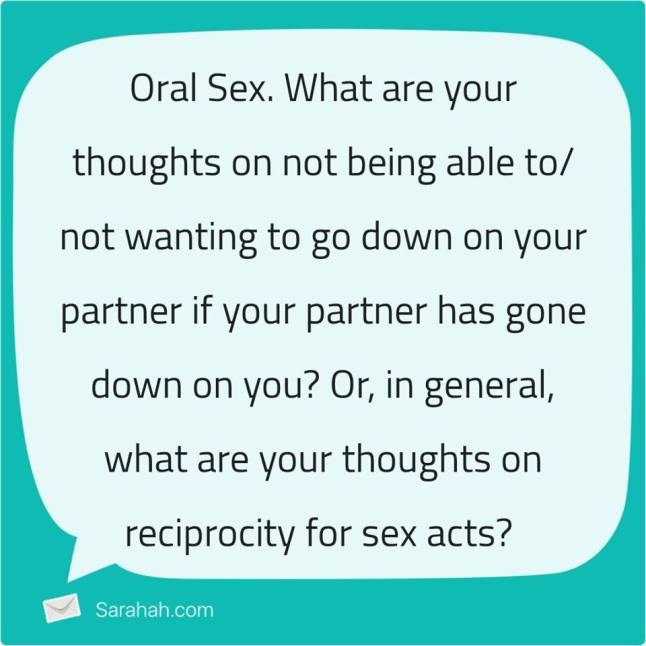 sarahah oral sex